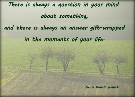There Is Always A Question In Your Mind About Something, And There is Always An Answer Gift -Wrapped in the moments Of Your Life. - Awareness Quote