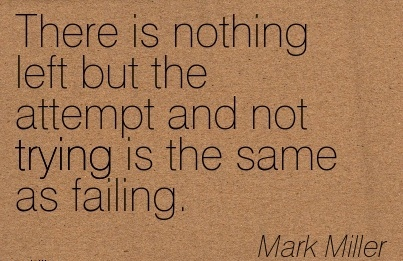 There is Nothing Left but the Attempt and not Trying is the same as Failing. - MArk Miller