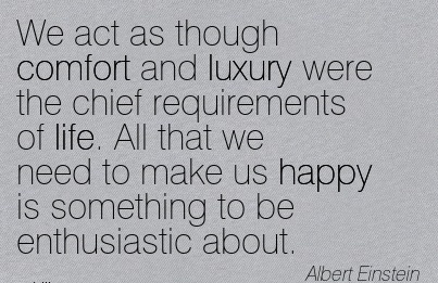 We Act As though Comfort and Luxury were the Chief Requirements of life. All that we Need to Something to be Enthusiastic About. - Albert Einstein