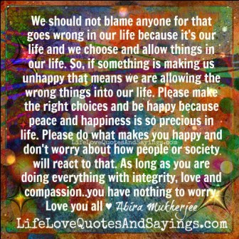 We Should Not Blame Anyone For That Goes Wrong In Our Life Because It's Our Life And We Choose And Allow Things In Our Life.. - Abira Mukherjee