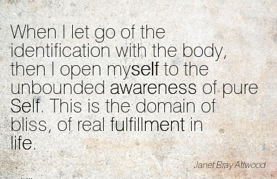 When I Let Go Of The Identification With The Body, Then I Open Awareness of Pure Self. This is the Domain Of Bliss, Of Real Fulfillment In Life - Janet Bray