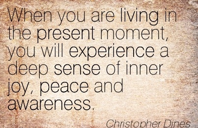 When You Are Living In The Present Moment, You Will Experience A Deep Sense Of Inner Joy, Peace And Awareness. - Christopher Dines