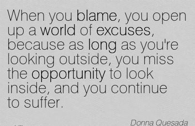 When You Blame, You Open Up A World Of Excuses, Because As Long As You're Looking Outside, You Miss The Opportunity To Look Inside, And You Continue To Suffer. - Donna Quesad