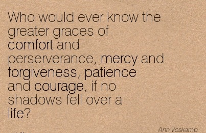 Who Would Ever know the Greater Graces of Comfort And Perserverance, Mercy and Forgiveness, Patience and Courage, if no Shadows fell over a life. - Ann Voskamp