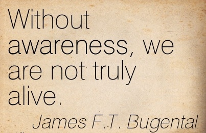 Without Awareness, We Are Not Truly Alive. - James F.T. Bugental