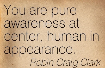 You Are Pure Awareness At Center, Human In Appearance. - Robin Craig Clark