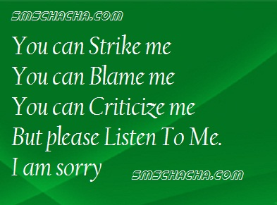You Can Strike Me  You Can blame Me you Can Criticize Me But Please Listen To Me, I Am Sorry.