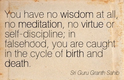 You Have No Wisdom At All, No Meditation, No Virtue Or Self-Discipline; In Falsehood, You Are Caught In The Cycle Of Birth And Death. - Sri Guru Granth Shib