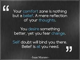 """ Your Comfort Zone Is Nothing But A Belief. A Mere Reflection Of Your Thoughts.. - Isaac Marano"