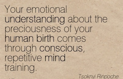 Your Emotional Understanding About The Preciousness Of Your Human Birth Comes Through Conscious, Repetitive Mind Training. - Tsoknyl Rinpoche