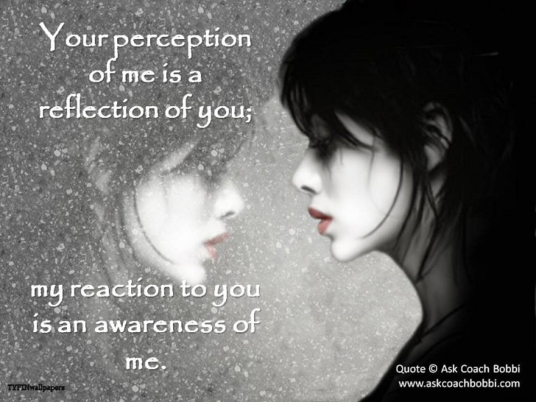 Your Perception Of Me Is A Reflection Of You; My Reacrtion To You Is An Awareness OF Me.