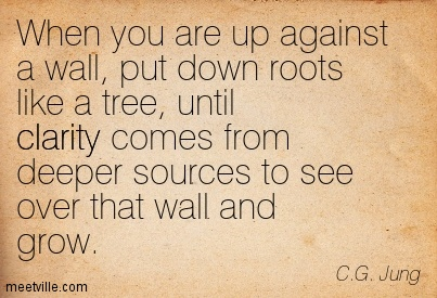 Awesome Clarity Quote By C.G. Jung ~When you are up against a wall, put down roots like a tree, until clarity comes from deeper sources to see over that wall and grow.