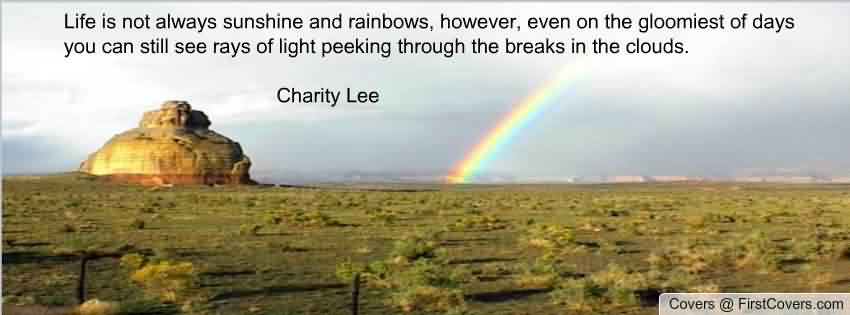 Beautiful Charity Quote by Charity Lee~ Life is not always sunshine and rainbows , however , ven on the gloomiest of days you can still see rays of light peeking through the breaks in the clouds .
