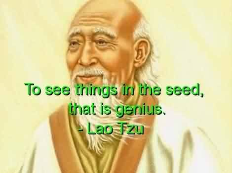 Best Celebrity Quote By Lao Tzu~ To see things in the seed , that is genius.