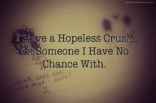Best  Celebrity Quote ~  i have a hopeless crush on someone i have no chance with.