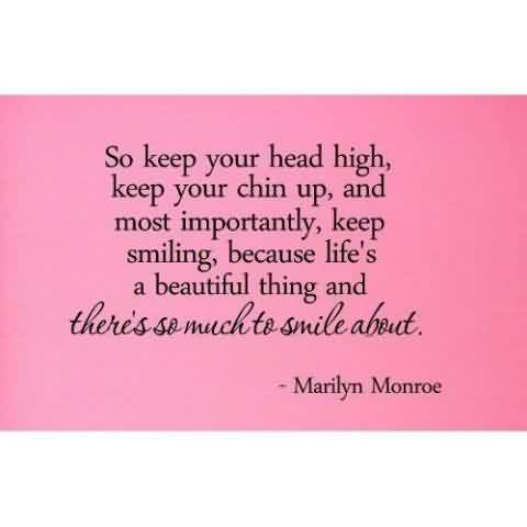 Best Celebrity Quote ~ So keep your head high….