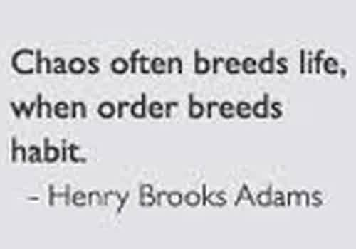 Best Chaos Quote by  Henry Brooks Adams ~Chaos Often Breeds Life, When Order Breeds Habit.