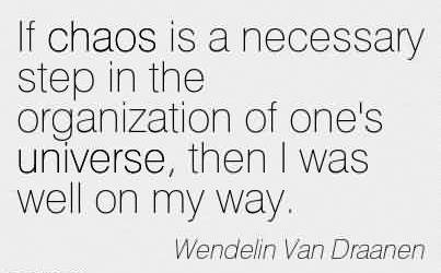 Best Chaos Quote by Wendelin Van Draanen~If chaos is a necessary step in the organization of one's universe, then I was well on my way.