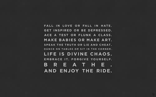 Best Chaos Quote ~Fall In Love Or Fall In Hate. Get Inspried OR Be Depressed….. Life is Divine Chaos. Embrace It. Forgive Yourself. And Enjoy The Ride.