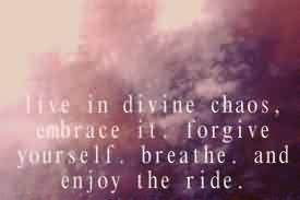 Best Chaos Quote~Live In Divine Chaos, Embrace It. Forgive Yourself. Breathe, And Enjoy The Ride.