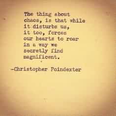 Best Chaos Quotes~The Thing About Chaos, Is That While It Disturbs Us, IT Too, Forces Our HEarts To Roar In A Way We Secrety FinD Magnificent,.