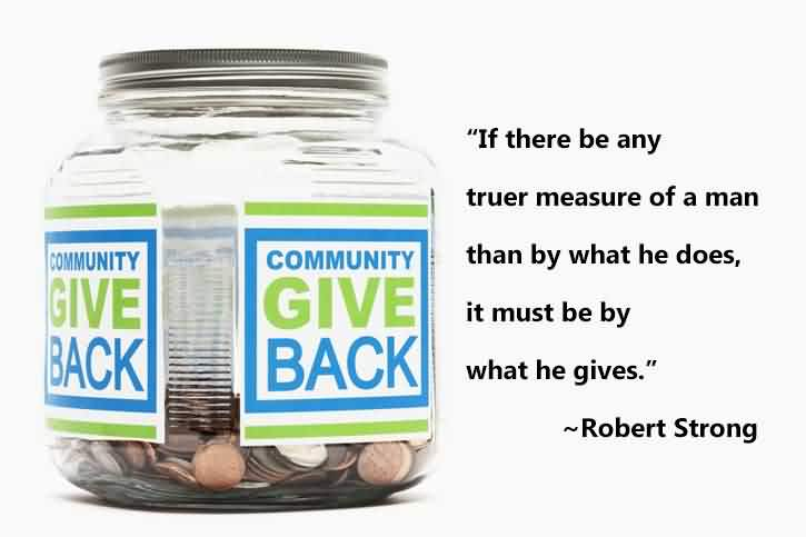 Best Charity Quote By Robert Strong ~ If there be any truer measure of a man than by what he does, it must be by what he gives.