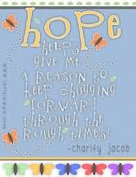 Best charity Quote ~Hope give me reason to keep …