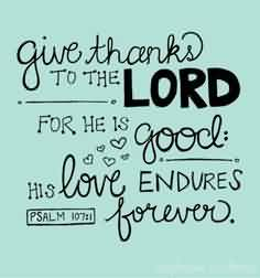 Best  Church Quote ~ Give thanks to the lord for he is good .