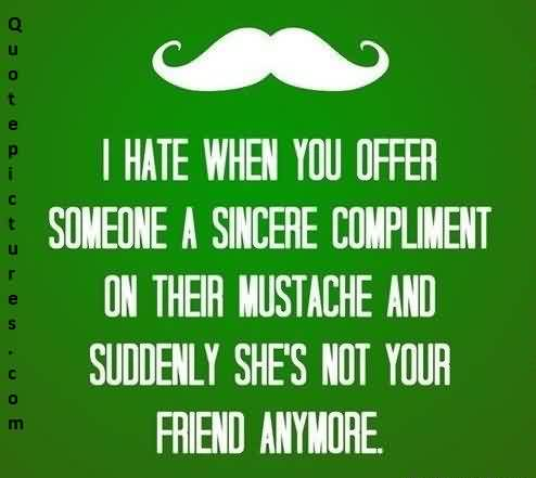 Best facbook funny Quotes - I hate when you offer someone a sincere compliment on their mustache and suddenly she's not your friend anymore