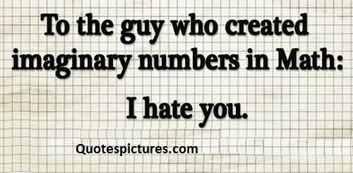 Best funny pinterest quotes for fb - To the guy who created imaginary number in math i hate you