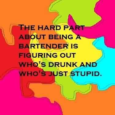 Best funny Pinterest Quotes - The hard part about being a bartender is figuring out who's drunk and who's just stupid