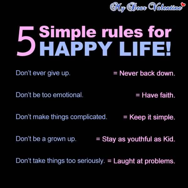 Best Inspiartaional Life Quotes - 5 simple rules for happy Life