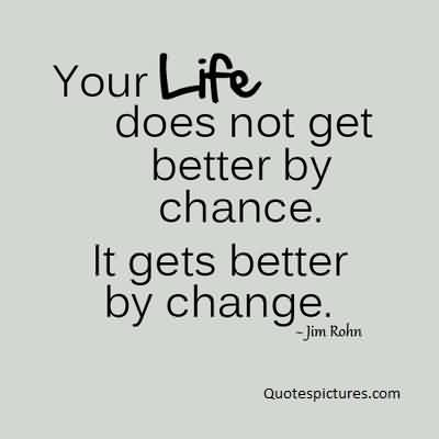 Best Life Quotes Image by Jim Rohn- Life Get better by changes