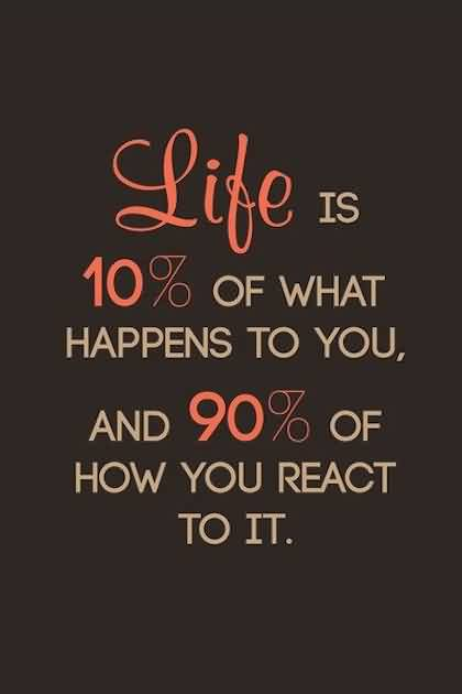 Best Life Reaction Quote Image-Life is 90% of How you react it