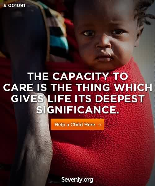 Charity Quote ~ The Capacity to care is teh thing which gives life its deepest significance.