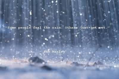 Excellent  Celebrity Quote By Bob Marley~ some people feel the rain , others just get wet.