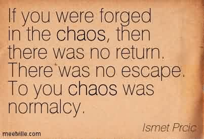Excellent Chaos Quote By Ismet Prcic~If You Were Forged In The Chaos, Then There Was No Return. There Was No Escape. To you Chaos Was Normalcy.