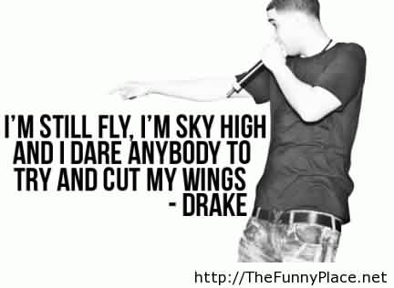 Fabulous Celebrity Quote By Drake~ I'm still fly , i'm sky high and i dare anybody to try and cut my wings.