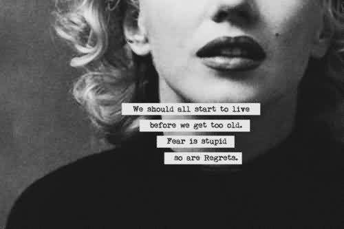 Famous  Celebrity Quote ~ We should all start to live before we get too old. Fear is stupid so are Regrets.