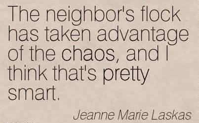 Famous Chaos Quote by Jeanne Marie Laskas~The neighbor's flock has taken advantage of the chaos, and I think that's pretty smart.