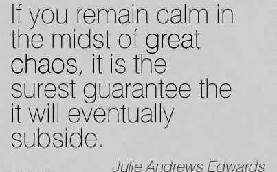 Famous Chaos Quote by Julie ~If you remain calm in the midst of great chaos, it is the surest guarantee the it will eventually subside.