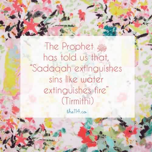 Famous Charity Quote By Tirmithi~ The Prophet has told us that sadaqah extinguishes sins like water extinguishes fire.