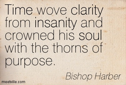 Fine Clarity Quote By Bishop Harber ~Time wove clarity from insanity and crowned his soul with the thorns of purpose.
