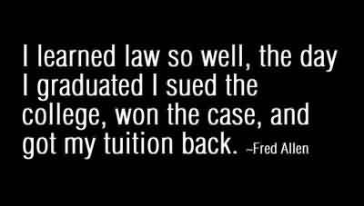 FIne Graduation Quote by  Fred Allen~I Learned Law So Well, The Day I Graduated I Sued The College, Won The Case, And Got My Tution Back.