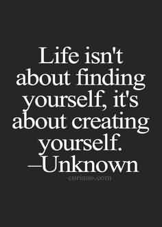 Fine Graduation Quote By Unknown ~Life Isn't About Finding Yourself, It's About Creating Yourself.