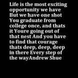 Fine Graduation Quotes~Life Is The Most Exciting Opportunity We Have But We Have One Shot You Graduate From College Once, And Thats It You're Going Out Of That Nest And You