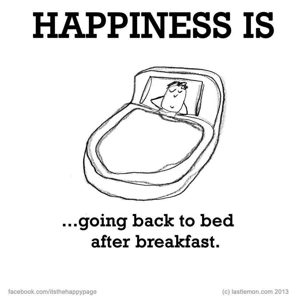 Funny good morning quotes images happiness is going back to bed after breakfast