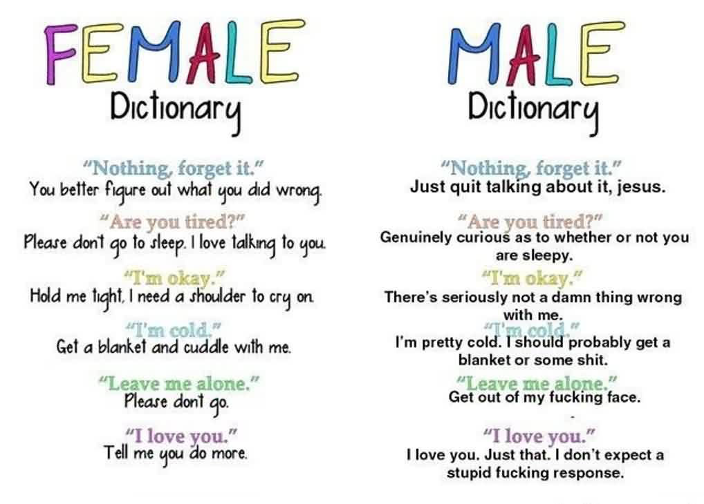 Funny Quotes about husband or wife - MAle Female Dictionary