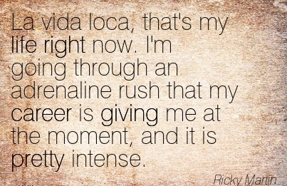 Good Career Quote by Ricky Martin ~La Vida Loca, That's My Life Right Now. I'm Going Through An Adrenaline Rush That My Career Is Giving Me At The Moment, And It Is Pretty Intense.