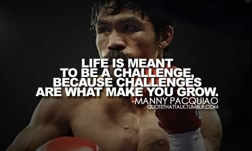 Good  Celebrity Quote By Manny Pacquiao~ Challenge's are what make you grow.